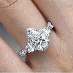 Sterling Silver Pear Cut AAA CZ ring!!